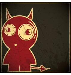 Funny devil on grunge background vector
