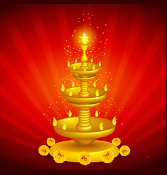 Golden Diya Stand vector image vector image