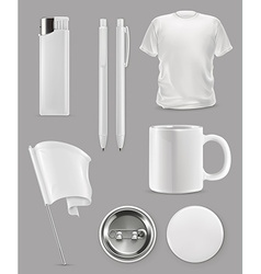 Promotional items set mockup vector image