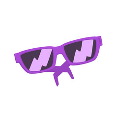 purple sunglasses cartoon vector image