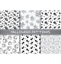 Set of halloween patterns Endless monochrome vector image vector image