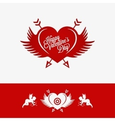 Valentines Day Heart With Wings Concept Background vector image