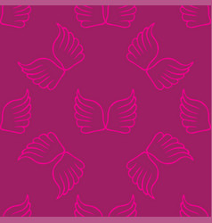 Angel wings seamless lilac pink pattern vector