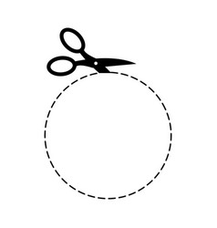 Scissors circle template sign symbol cut with vector