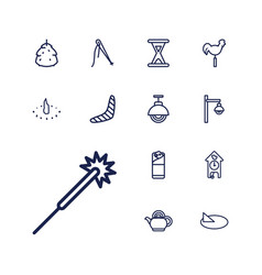 13 traditional icons vector
