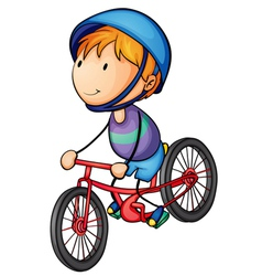 a boy riding on a bicycle vector image
