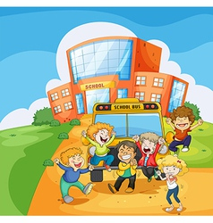 A school bus in front of the school vector