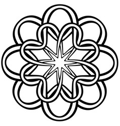 Abstract entwined knotted flower in tribal celtic vector