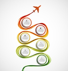 Abstract infographic airplane and wave a colored vector