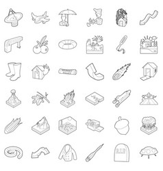 air environment icons set outline style vector image