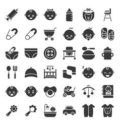 Baby and emoticon solid icon set vector