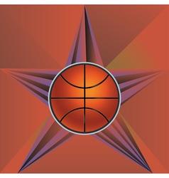 Basketball ball on rays background vector