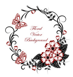 beautiful floral background with butterflies in vector image