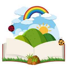 Book with mountain and rainbow vector