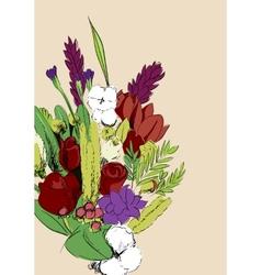 Bunch of flowers vector