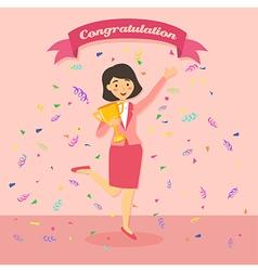 Business Woman Winning a Trophy vector