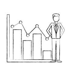 businessman with statistics bar chart pointed line vector image