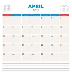 calendar planner for april 2021 week starts on vector image