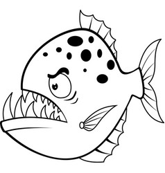 Cartoon angry piranha vector
