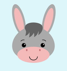 cartoon cute donkey with a farm vector image
