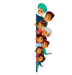 Cartoon indian family peeping empty space vector
