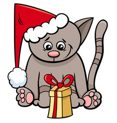 cat with xmas present cartoon vector image