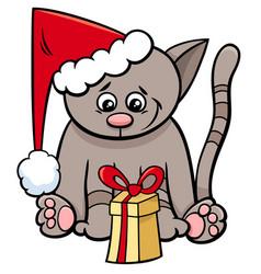 Cat with xmas present cartoon vector
