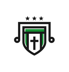 catholic religious shield logo design vector image