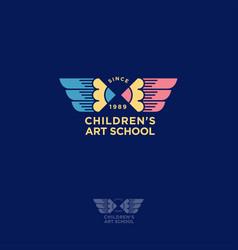 children art school logo vector image