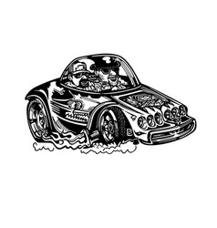 Classic retro hot-rod cars isolated vector