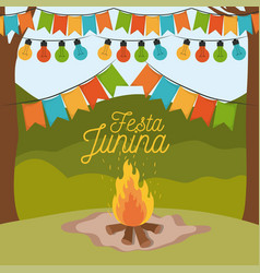 colorful poster festa junina with background vector image vector image