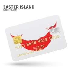 Credit card with Easter Island flag background for vector