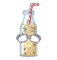 Crying healthy banana smoothie in cartoon glass vector