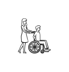 disable person in wheelchair hand drawn outline vector image