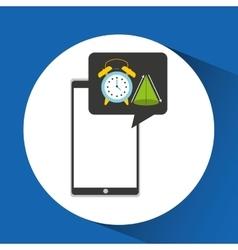Education online smartphone app clock geometry vector