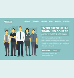 Entrepreneurial training course web site page new vector