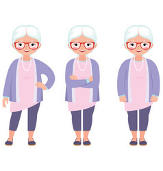 Fashionable gray haired mature woman with glasses vector