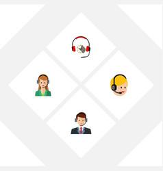 flat call set of hotline secretary call center vector image
