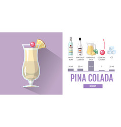 Flat style cocktail pina colada menu design vector