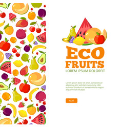 Fruits background template fresh healthy food vector