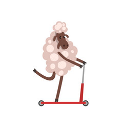 Furry sheep riding kick scooter adorable animal vector