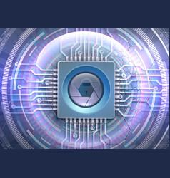 Futuristic eye cyber protection theme vector