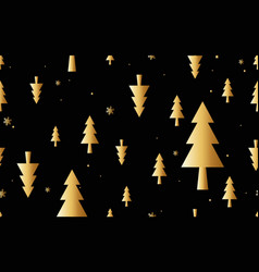 gold christmas trees minimal composition seamless vector image