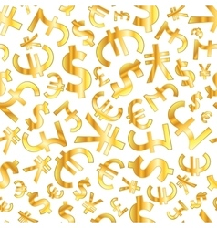 Golden signs of world currencies on white vector