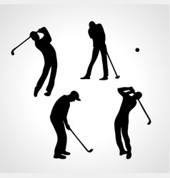 golfers silhouettes collection 4 black golf vector image