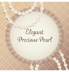 gorgeous cream pearl necklace with lace plate on vector image