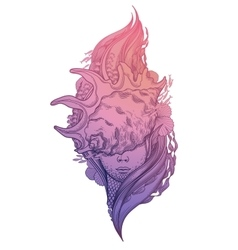 Graphic mermaid head vector