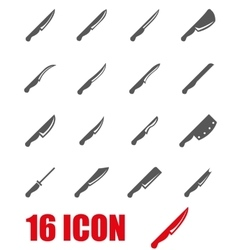 grey kitchen knife icon set vector image