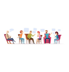 Group therapy crowd sitting dialogue vector