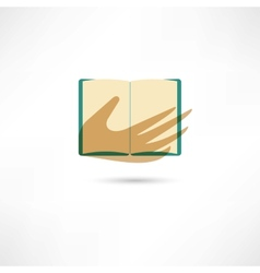 Hand and the open book vector image vector image